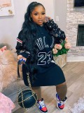 Jurllyshe Plus Size Hip Hop Trend Long Sleeve Sequin Patchwork Jordan Hooded Sweater Dress