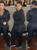 Jurllyshe Plus Size Hooded Zipper Top With Solid Sports Pants Set