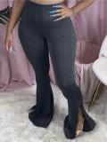 Jurllyshe Plus Size Nightclub Split Solid Color Pit Strip Tight Flared Pants