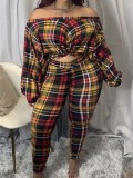 Jurllyshe Plus Size Off The Shoulder Sexy Plaid Top With Pants Set
