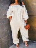 Jurllyshe Plus Size Off The Shoulder Solid Color Sexy Long Sleeve Jumpsuit