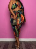 Jurllyshe Plus Size Party Fashion Bandage Crossover Halter Print Top With Casual Loose Pants Set