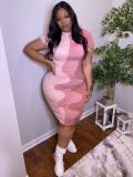 Jurllyshe Plus Size Patchwork Contrast Short Sleeve Crew Neck Slim Fit Dress