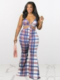 Jurllyshe Plus Size Plaid Print Sleeveless Hollow Out Sexy Casual Jumpsuit