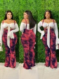 Jurllyshe Plus Size Plaid Print Slim Fashion Suspender Flared Pants