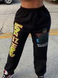 Jurllyshe Plus Size Printed Street Fashion High Waist Pants