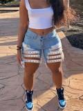 Jurllyshe Plus Size Rivet Hollow Out Zipper Short Jeans Denim Shorts