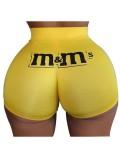 Jurllyshe Plus Size Sexy Buttock Letter Print Shorts