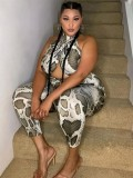 Jurllyshe Plus Size Sexy Open Back Personalized Crossover Snake Print Jumpsuit