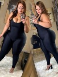 Jurllyshe Plus Size Sexy V-Collar Sling One-Piece Solid Color Fashion Black Jumpsuit