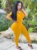 Jurllyshe Plus Size Short Sleeve Plunging Neckline Solid Elastic Hip Lifting Tight Jumpsuit