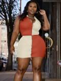 Jurllyshe Plus Size Sleeveless Color Contrast Zipper Top With Short Skirt Set