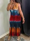 Jurllyshe Plus Size Slim Fit Tie Dye Sexy V-Collar Dress