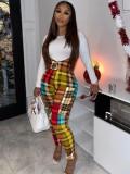 Jurllyshe Plus Size Slim T-Shirt With Plaid Suspender Overall Pants Set