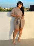 Jurllyshe Plus Size Solid Color Short Sleeve Bandage Comfortable Shirt With Shorts Set