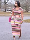 Jurllyshe Plus Size Striped Contrast Color Side Split Bodycon Maxi Dress