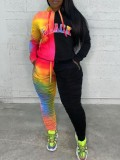 Jurllyshe Plus Size Tie Dye Contrast Color Letter Print Hooded Sweater With Pant Set