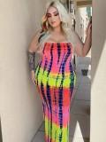 Jurllyshe Plus Size Tie Dye Print Contrast Color Maxi Tube Dress