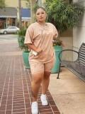 Jurllyshe Plus Size Tie Dye Print Short Sleeve Round Neck Shirt With Casual Shorts Set