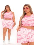 Jurllyshe Plus Size Tie Dye Printed Casual Top With Sports Shorts Set