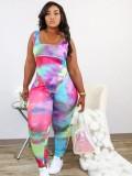 Jurllyshe Plus Size Tie Dye Vest Jumpsuit