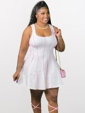 Jurllyshe Plus Size Vest Style Line Collision Sleeveless Sexy Dress