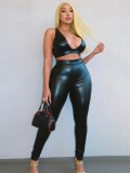 Jurllyshe Pu Leather Sleeveless Tank Top With Solid Color Sexy Nightclub Pants Set