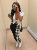 Jurllyshe Short Sleeve Zipper Sexy Cardigan Top With Contrast Color Plaid Pants Set