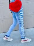 Jurllyshe Sides Lace Up Solid Color Zipper Pockets Fashion Denim Pants Jeans