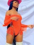 Jurllyshe Tassel Long Sleeve Off Shoulder Beach One Piece Swimwear