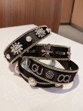 Luxury Wide Edge Heavy Industry Chain Inlaid With Diamond Pearl Hairband