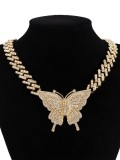 Retro Rhinestone Butterfly Fashion Cuba Chain Necklace