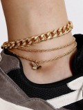 Thick Chain Butterfly Pendant Multi Layer Ankle Chain