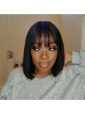 Jurllyshe Bob Straight Lace Frontal Wig With Bangs Pre Plucked Bob Human Hair Wig With Baby Hair