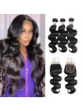 3 Bundles Body Wave With 4*4 Lace Closure Unprocessed Human Hair