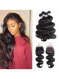 Jurllyshe 4 Bundles Body Wave Virgin Human Hair With 4*4 Lace Closure