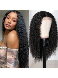 Jurllyshe Jerry Curly Closure Wigs 150 Density Natural Color on Fleek Middle Part