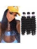 Jurllyshe 3Pcs Pack Deep Wave Virgin 100% Unprocessed Human Hair Weft
