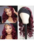 Jurllyshe 1B/99J Burgundy Headband Wig Body Wave Human Hair Wigs 150% Density