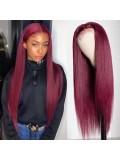 Jurllyshe 99j Lace Part Straight Human Hair Wigs 150% Density