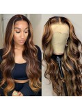 Jurllyshe Body Wave 13X5X0.5 T Part Lace Wig Human Hair 150% Density