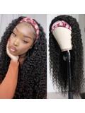 Jurllyshe Curly human hair Headband Wig 150% Density Glueless Natural Black