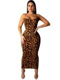 Jurllyshe Leopard Print Cami Bodycon Dress-Light Brown