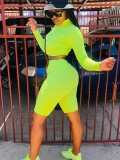 Jurllyshe Neon Color Zip Up Crop And Leggings Shorts Set-Neon Green
