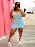 Jurllyshe Plus Size Solid Color Sleeveless Crop Top With Skirt Set
