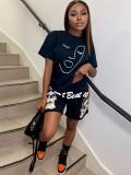 Jurllyshe Short Sleeve Shirt With Hip Hop Skull Letter Print Unisex Sweatpant Shorts Set