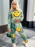 Jurllyshe Smile Cartoon Face Printed Hooded Sweater With Tie Dye Pockets Pants Set