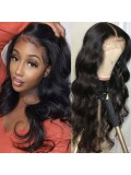 Body Wave Wig Human Hair Lace Part Wig For Women 150% Density Hand Tied