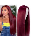 Jurllyshe 150% Density Burgundy Lace Part Closure Human Hair Wigs Straight Hair Colored 99J