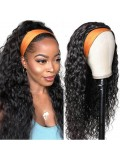 Jurllyshe Water Wave Glueless Headband Human Hair Wigs With Pre-attached Scarf 200% Density